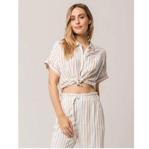 Volcom Tops - Volcom 'Need Now' Striped Button Down Crop Shirt S
